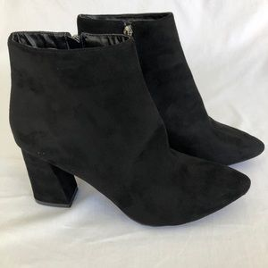Forever 21 Black Suede Booties Size 10 Brand New